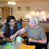 Student visitors learn about Riversway Nursing Home