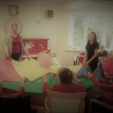 Fun with balloons at Birch Green Care Home
